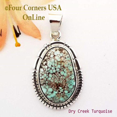Dry Creek Turquoise Pendant Navajo Silver Artisan Robert Concho NAP-1725 Four Corners USA OnLine Native American Jewelers