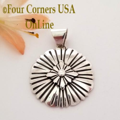 Sterling Silver Sunburst Pendant Navajo Lutricia Yellowhair NAP-1731 Four Corners USA OnLine Native American Jewelry