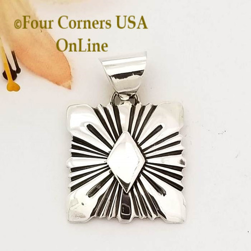 On Sale All Silver Sunburst Pendant Navajo Lutricia Yellowhair NAP-1737 Four Corners USA OnLine Native American Jewelry