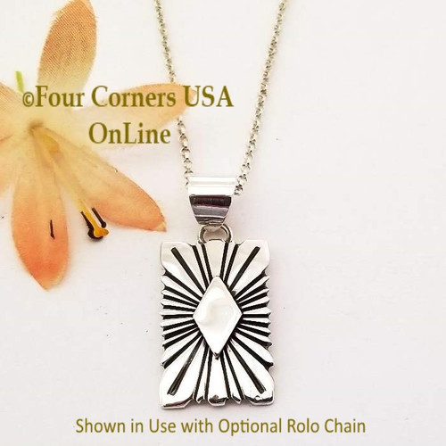 On Sale Silver Sunburst Pendant Navajo Lutricia Yellowhair NAP-1738 Four Corners USA OnLine Native American Jewelry