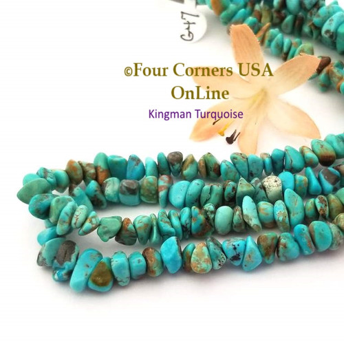 7mm Teal Blue Copper Kingman Turquoise Nugget Bead Strands Group 47 Four Corners USA OnLine Jewelry Making Beading Supplies