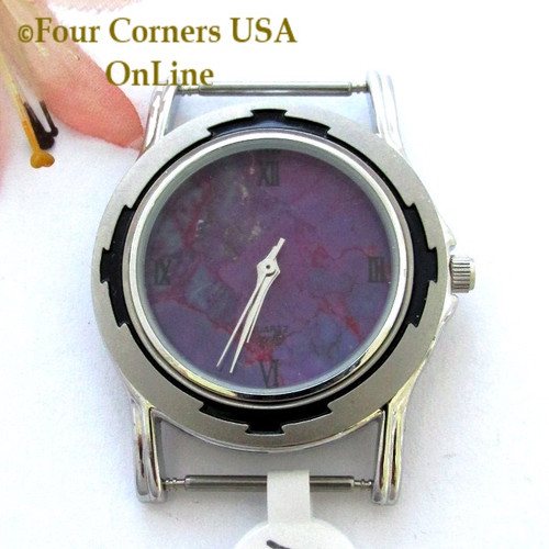 Men's 16M Mohave Purple Kingman Turquoise Stone Watch Face 18mm pin NAWF-MP-16M Closeout Final Sale Closeout Final Sale Four Corners USA OnLine Native American Jewelry Supplies