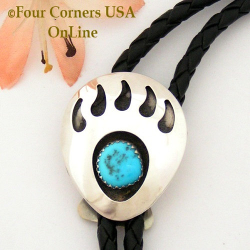 Bear Paw Good Omen Sterling Leather Bolo Navajo Sandra Johnson NAM1302 Closeout Final Sale Four Corners USA OnLine Native American Jewelry