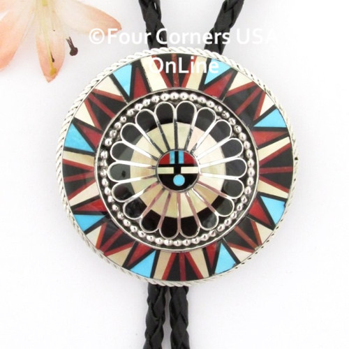 SunFace Inlay Sterling Silver Bolo Tie Zuni Jeweler April Unkestine NAN-1451CL Four Corners USA OnLine Special Buy Native American Silver Jewelry Final Sale
