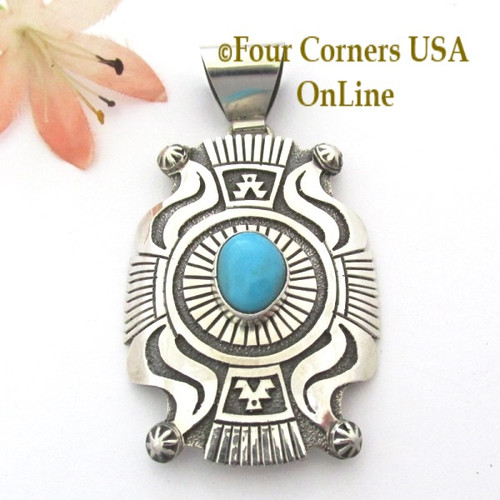Large Shield Turquoise Sterling Silver Overlay Pendant Navajo Gary Nez On Sale Now NAP-1685 Four Corners USA OnLine Native American Jewelry