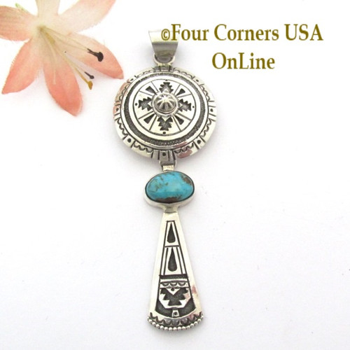Dome Shield Turquoise Sterling Pendant Navajo Gary Nez NAP1684CL Special Buy Final Sale Four Corners USA OnLine Native American Jewelry
