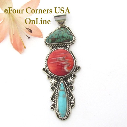Triple Stone Turquoise Spiny Oyster Sterling Silver Pendant Navajo Gary Nez NAP-1682CL Four Corners USA OnLine Native American Jewelry Special Buy Final Sale