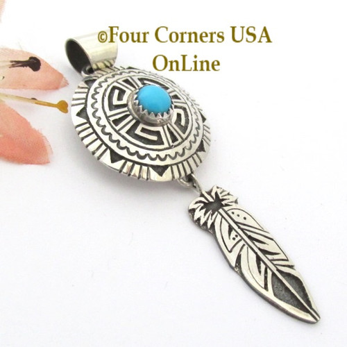 Turquoise Overlay Shield Feather Sterling Silver Pendant Navajo Gary Nez NAP1681CL Four Corners USA OnLine Special Buy Native American Jewelry