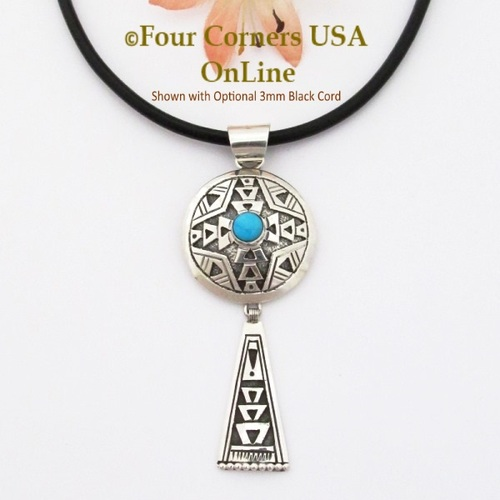 Turquoise Overlay Dome Shield Sterling Silver Pendant shown with Optional 3mm Black Cord Navajo Silversmith Gary Nez On Sale Now NAP-1676CL Four Corners USA OnLine Native American Jewelry
