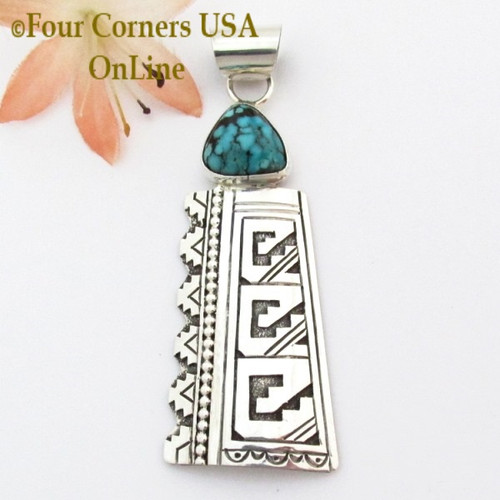 Turquoise Stamped Overlay Sterling Silver Pendant Navajo Gary Nez On Sale Now NAP-1673 Four Corners USA OnLine Native American Jewelry Special Buy Final Sale