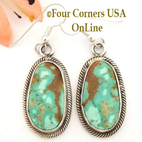 Pilot Mountain Turquoise Sterling Earrings Navajo Artisan Rick Martinez NAER-1522CL Four Corners USA OnLine Native American Jewelry Store Special Buy Final Sale