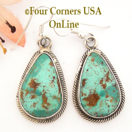 Pilot Mountain Turquoise Earrings Navajo Artisan Rick Martinez NAER1521CL Special Buy Final Sale Four Corners USA OnLine Native American Jewelry