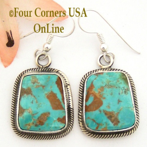 Pilot Mountain Turquoise Sterling Earrings Artisan Rick Martinez NAER1520CL Special Buy Final Sale Four Corners USA OnLine Native American Jewelry Store