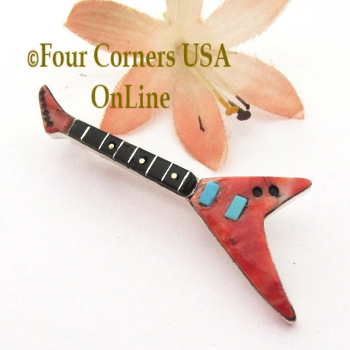 Spiny Oyster Inlay Guitar Pin Pendant Zuni Artisan Eric Lonjose NAP1746CL Special Buy Final Sale Four Corners USA OnLine Native American Silver Jewelry