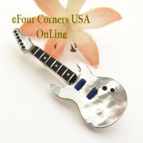 White Shell Inlay Guitar Pin Pendant Zuni Artisan Eric Lonjose NAP1747CL Special Buy Final Sale Four Corners USA OnLine Native American Silver Jewelry
