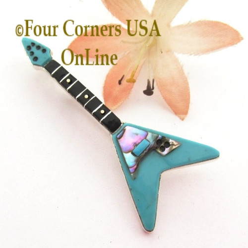 Turquoise Inlay Guitar Pin Pendant Zuni Artisan Eric Lonjose NAP-1748CL Special Buy Final Sale Four Corners USA OnLine Native American Silver Jewelry