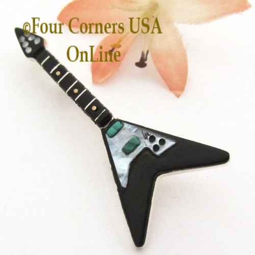 Jet Black Inlay Guitar Pin Pendant Zuni Artisan Eric Lonjose On Sale Now NAP-1749CL Four Corners USA OnLine Native American Silver Jewelry