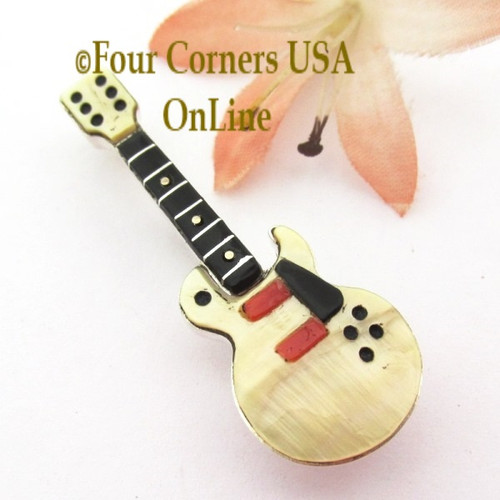 Yellow Shell Inlay Guitar Pin Pendant Zuni Artisan Eric Lonjose NAP-1750CL Special Buy Four Corners USA OnLine Native American Silver Jewelry