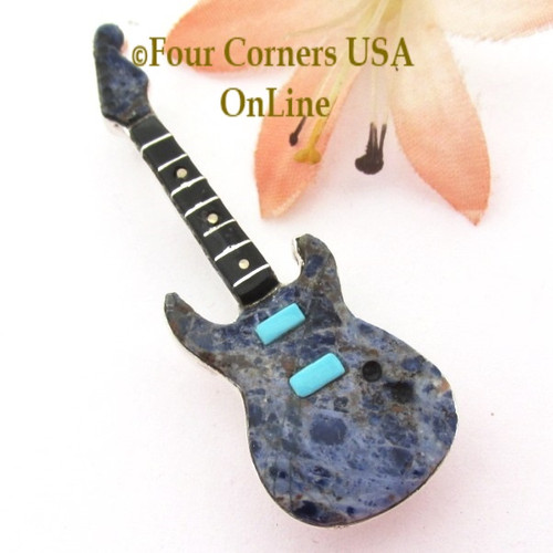 Sodalite Inlay Guitar Pin Pendant Zuni Artisan Eric Lonjose NAP-1752CL Special Buy Four Corners USA OnLine Native American Silver Jewelry