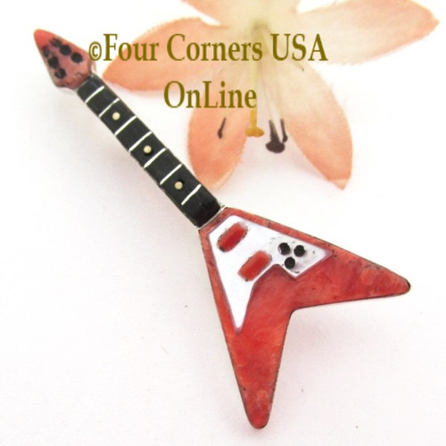 Spiny Oyster Shell Inlay Guitar Pin Pendant Zuni Artisan Eric Lonjose NAP-1753CL Special Buy Four Corners USA OnLine Native American Silver Jewelry