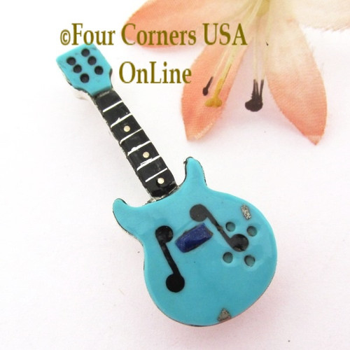 Turquoise Inlay Guitar Pin Pendant Zuni Artisan Eric Lonjose NAP-1754CL Special Buy Four Corners USA OnLine Native American Silver Jewelry
