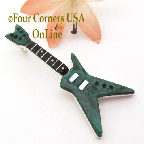 Malachite Inlay Guitar Pendant Zuni Artisan Eric Lonjose NAP-1755CL Special Buy Four Corners USA OnLine Native American Silver Jewelry