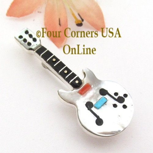 White Shell Inlay Guitar Pin Pendant Zuni Artisan Eric Lonjose NAP-1756CL Special Buy Four Corners USA OnLine Native American Silver Jewelry