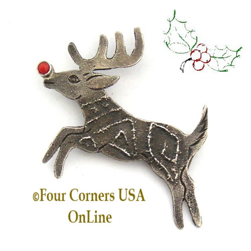 Rudolph the Red Coral Nosed Reindeer Pin Brooch Navajo Art Jewelry Lee Charley Four Corners USA OnLine NAP-1506CL Special Buy Final Sale