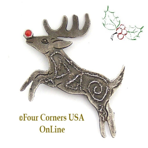 Coral Nosed Reindeer Pin Brooch Four Corners USA OnLine Native American Wearable Art Jewelry Navajo Lee Charley NAP-1508CL Special Buy Final Sale