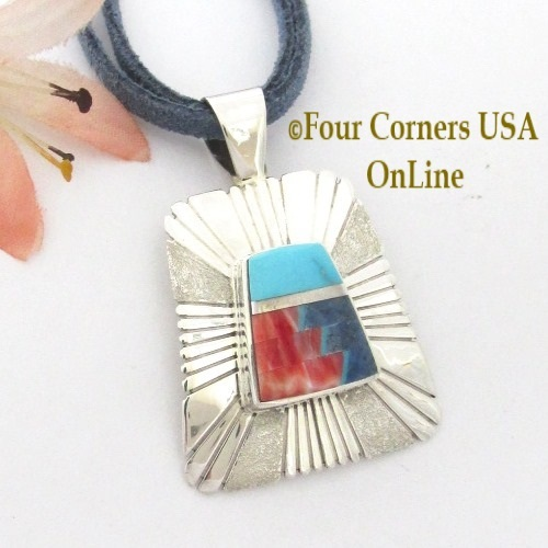 On Sale Now! Turquoise Spiny Lapis Inlay Pendant Adjustable Necklace Navajo Melvin Francis Eugene Chee Four Corners USA OnLine Native American Jewelry NAP-1658