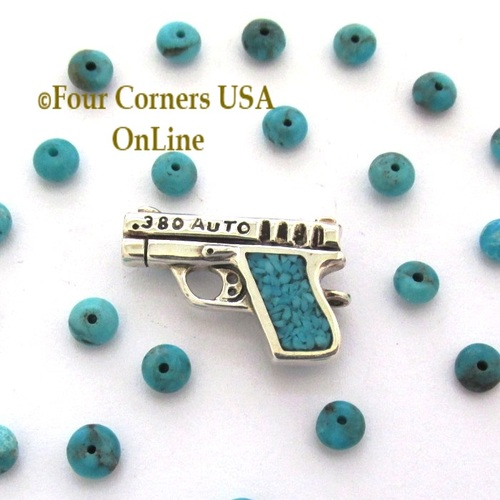 On Sale Now! 1911 Inspired 380 ACP Sterling Turquoise Pistol Pendant American Artisan Four Corners USA OnLine Jewelry PDN-101