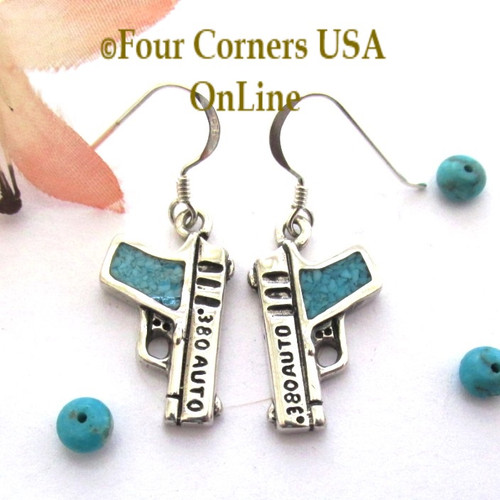 On Sale Now! 1911 Inspired 380 ACP Sterling Turquoise Pistol Earrings American Artisan Four Corners USA OnLine Jewelry EAR-101CL
