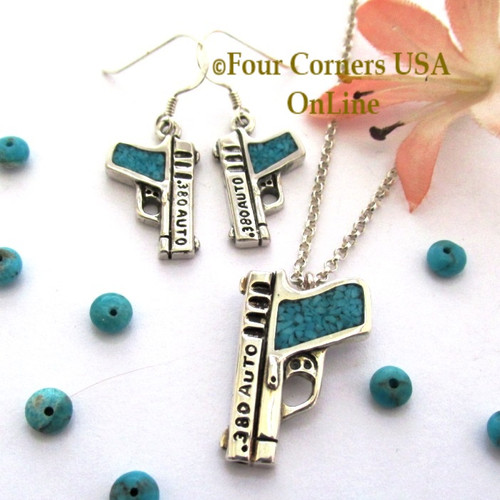 Special Buy! Turquoise 380 ACP Sterling Pistol Artisan Earring Necklace Set PDN-101STCL Four Corners USA OnLine American Handcrafted Jewelry