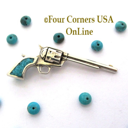On Sale Now! Kingman Turquoise 1800 Colt Revolver Artisan Pendant American Artisan Four Corners USA OnLine Jewelry PDN-101CL
