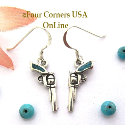 On Sale Now! Kingman Turquoise 1800 Colt Revolver Artisan Earrings EAR102CL Four Corners USA OnLine Jewelry