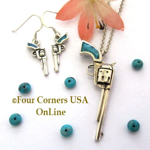 On Sale Now! Kingman Turquoise 1800 Colt Revolver Pendant Earring Jewelry Set PDN-102ST Four Corners USA OnLine American Artisan Handcrafted Jewelry