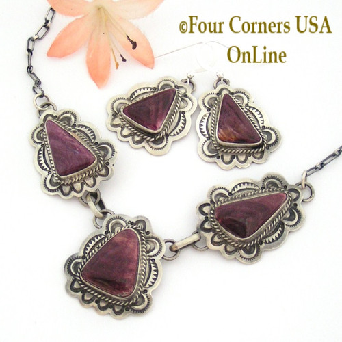 On Sale Now! Purple Spiny Oyster Earrings Necklace Set Sterling Silver Jewelry by Native American Navajo Samantha Tso NAN-09036CL Four Corners USA OnLine