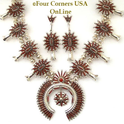 On Sale Now! Coral Needlepoint Squash Blossom Necklace Earring Jewelry Set Zuni Artisans Lance and Cordelia Waatsa NAN-1431CL Four Corners USA OnLine Native American Jewelry