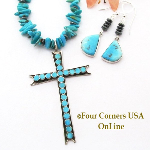 On Sale Now! Zuni Cross 18 Inch Turquoise Bead Necklace Earring Jewelry Set Four Corners USA OnLine Native American Artisan Jewelry NAN-1445CL