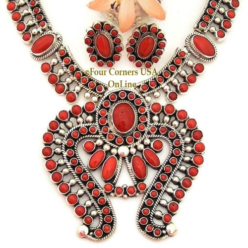 On Sale Now! Fine Coral Naja Necklace Post Earring Jewelry Set Navajo Artisan Alice Lister NAN1430CL Four Corners USA OnLine Authentic Native American Jewelry