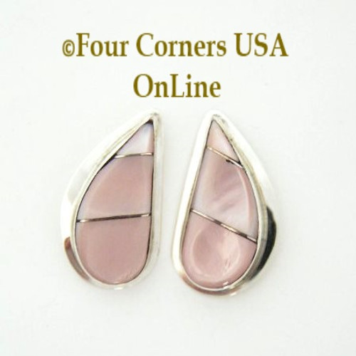 Pink Shell Post Earrings Native American Silver Jewelry NAER09051CL Four Corners US OnLine Closeout Final Sale