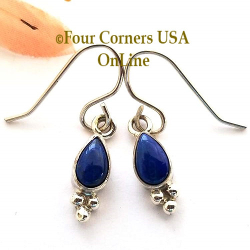 On Sale Now Lapis Lazuli Tear Drop Earrings NAER13066CL Navajo Artisan Special Buy Final Sale Four Corners USA OnLine Native American Jewelry