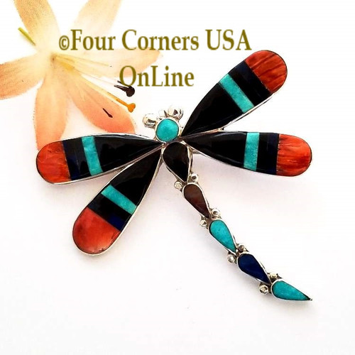Multi Stone Inlay Dragonfly Pin Pendant Zuni Angus Ahiyite NAP-1743 Four Corners USA OnLine Southwest Native American Jewelry