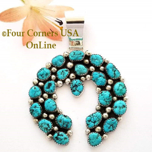 On Sale Now! Sleeping Beauty Turquoise Sterling Naja Pendant Navajo Kenneth Jones NAP-1615 Four Corners USA OnLine Native American Silver Jewelers