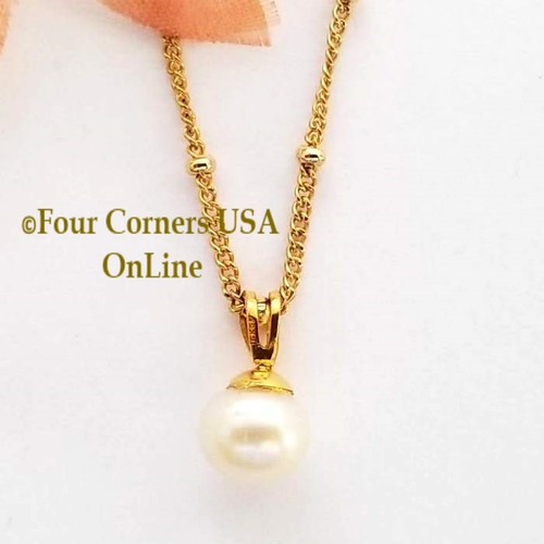 Pearl Solitaire 14K Gold Filled Necklace AA-1801CL Four Corners USA OnLine  Artisan Jewelry Special Buy Final Sale