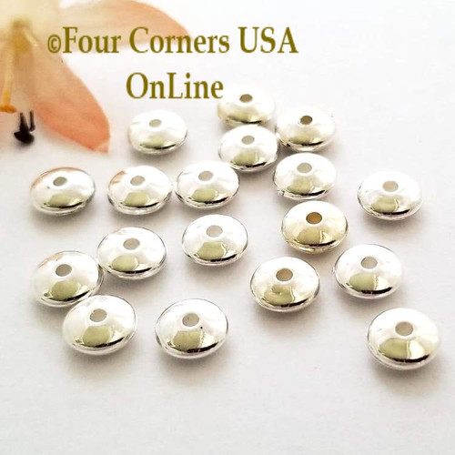 8mm Saucer Silver Plated Spacer Beads 50 Pieces Special Buy Final Sale BDZ-1921 Four Corners USA OnLine Jewelry Making Beading Craft Supplies