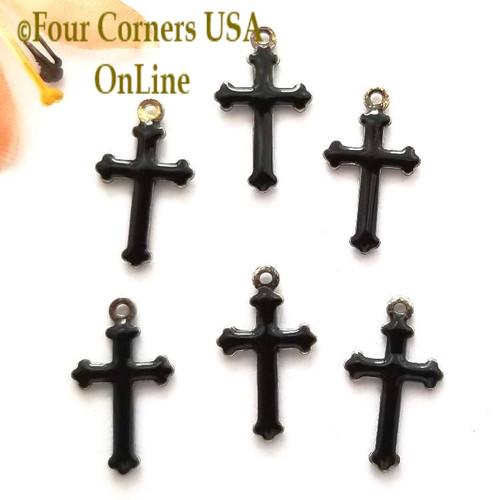 Black Enamel Cross Charm 6 Pieces Special Buy Final Sale BDZ-1925 Four Corners USA OnLine Jewelry Making Beading Craft Supplies