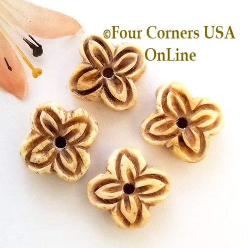 Flower Carved Antique Bone Bead Jewelry Making Component BDZ-1940 Four Corners USA OnLine Jewelry Making Beading Craft Supplies