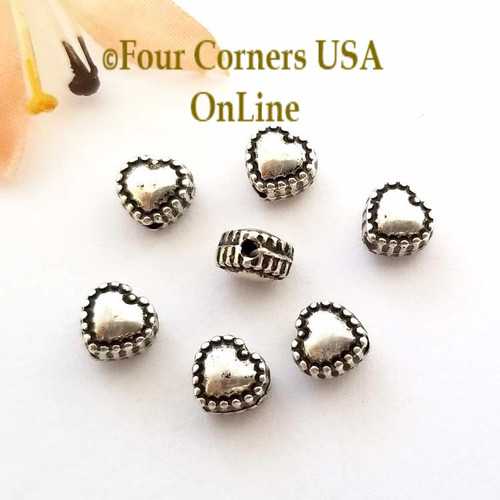 6mm Heart Oxidized Silver Plated Spacer Beads 30 Pieces Special Buy Final Sale BDZ-1945 Four Corners USA OnLine Jewelry Making Beading Craft Supplies
