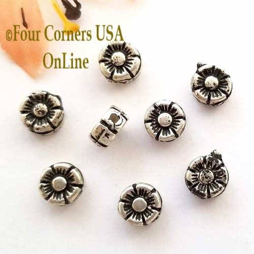 6mm Flower Oxidized Silver Plated Spacer Beads 20 Pieces Special Buy Final Sale BDZ-1946 Four Corners USA OnLine Jewelry Making Beading Craft Supplies